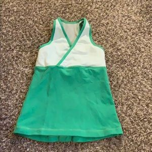 Green white LULULEMON athletic Tank Top Size 2